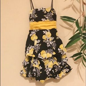 Strapless black white and yellow floral dress.